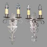 Spanish Revival Large Iron Double Candle Wall Sconces