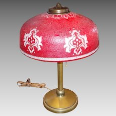 Brass Table Lamp with Enameled, Ice Chip, Red Cased Glass Shade