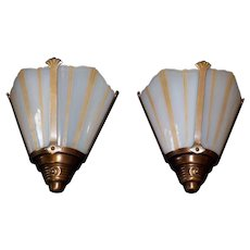 "Art Deco ""Machine Age"" Slip Shade Sconces by Moe Bridges"