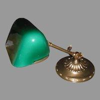 Amronlite Adjustable Bankers Desk Lamp  w Green Cased Glass Shade