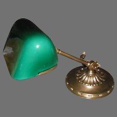 Amronlite Adjustable Desk Lamp  w Green Cased Glass Shade