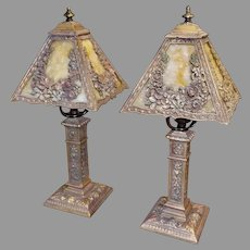Boudoir Table Lamps - Pair with Polychrome Finish and Slag Glass shades