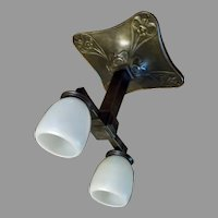 Cast Bronze Art Nouveau Railroad Ceiling Light with Steuben Calcite Glass Shades