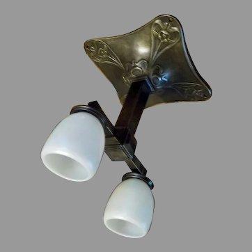 Cast Bronze Art Nouveau Railroad Ceiling Light with Steuben Calcite Glass Shades