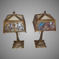 Pair Miller 2 Color Slag Glass Boudoir Lamps