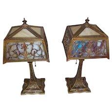 Pair Miller 2 Color Slag Glass Boudoir Lamps