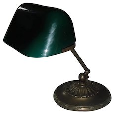 Emeralite Adjustable Bankers Desk Lamp - Original Green Cased Shade
