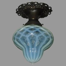 Victorian Rare Heavy Ribbed Opalescent Swirl and Diamond Quilted Shade in Fancy Cast Bronze Ceiling Fixture