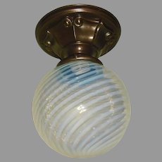 Opalescent Swirl Ball Shade in Decorated Brass Ceiling Light Fixture