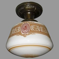 Decorated Milk Glass Schoolhouse Ceiling Light in Brass Fixture - 2 available