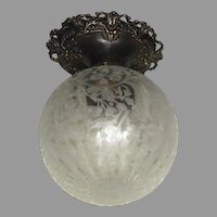 Victorian Ceiling Light with Deep Etched Ball Shade and Cast Bronze Fixture