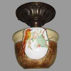 Decorated Brass Ceiling Fixture with Colorful Parrot Glass Shade - 2 available