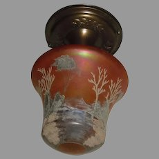 Ceiling Light with Iridescent and Painted Carnival Glass Shade in Decorated Brass Fixture