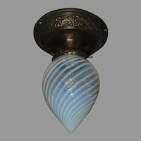 Ceiling Light with Opalescent Blue Swirl Glass Shade in Decorated Brass Fixture