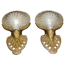 Rare Conneaut Art Deco Sconces with Iridized Clam Shell Slip Shades - 3 pair available