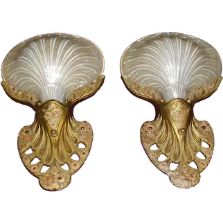 Rare Conneaut Art Deco Sconces with Iridized Clam Shell Slip Shades - 2 pair available