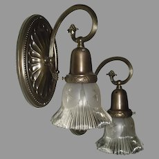 Brass Large Sheffield Style Oval Sconces with Gillinder Shades