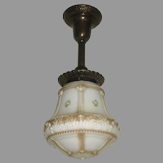 Decorated Brass Pendant with Embossed, Colored Glass shade