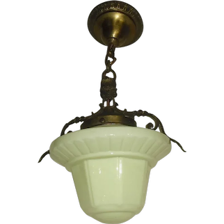 Fanciful Brass Pendant with Opalescent Yellow Glass Shade