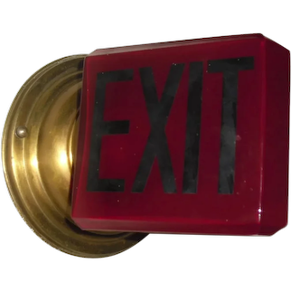 Triangular Ruby Red Wall Mounted Exit Light with Beveled Edges