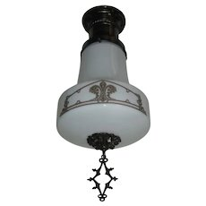 Kayline Decorated Ceiling Light in Original Bronze Fixture - 2 available- smaller size