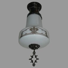 Kayline Radiant Ceiling Light -Decorated Milk Glass Shade in Original Bronze Fixture - Medium Size - 3 available