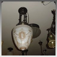 Neoclassical Entry Hall Pendant Light with Dancing Ladies