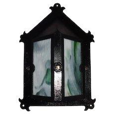 Arts & Crafts Iron Porch Light with Slag Glass