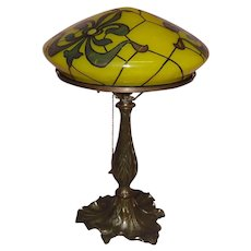 Art Nouveau Table Lamp with Decorated Glass Dome Shade