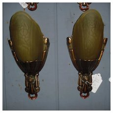 Lincoln Art Deco Sconces with Frosted Amber Glass Slip Shades
