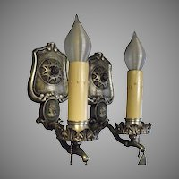 Neoclassical Sconces - Silver Plate w Cameos and Crystals