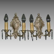 Silver Plated Neoclassical Sconces with Crystals