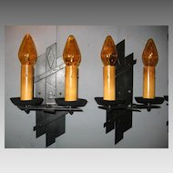 Set of 4 Spanish Revival Iron Double Candle Wall Sconces