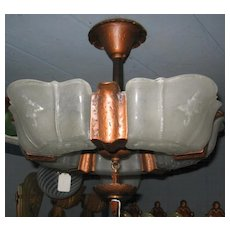 Art Deco 5 Light Slip Shade Flush Mount Light Fixture