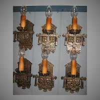 Tudor Cast Brass Wall Sconces - 3 pair available