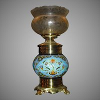 Eastlake Kerosene Table Lamp with Longwy Pottery Base and Crown Top Gas Shade