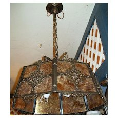 Tudor Cast Brass with Mica Paneled Chandelier