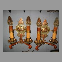 Spanish Revival Wall Sconces: Polychrome Finish with Double Candle-up