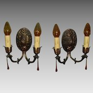 Classic Spanish Revival Cast Brass Wall Sconces- 2 pair available
