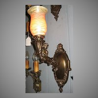 Spectacular Cast Brass Mermaid Wall Sconce with Quezal Shade