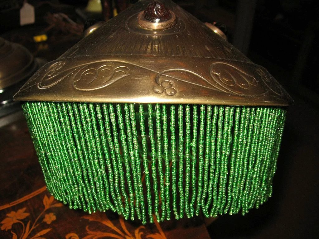 Art Nouveau Roll Top Desk Lamp with Jeweled Shade ...