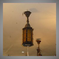 Arts & Crafts Copper with Amber Textured Glass Ceiling Pendant Light