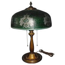 Bradley & Hubbard Table Lamp with Enameled, Ice Chip Green Cased Glass Shade