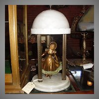 Alabaster Table Lamp with Southern Belle Lady