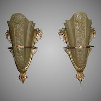 Art Deco Slip Shade Sconces - Consolidated Glass--