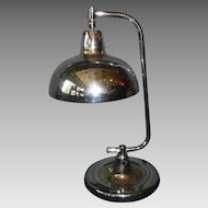 Art Deco Machine Age Desk Lamp with Blue Diamond Quilted Glass Shade