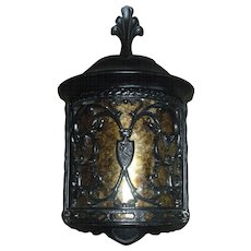 Pair Spanish Revival Porch Light Fixture with Mica Panel - 2 pair available