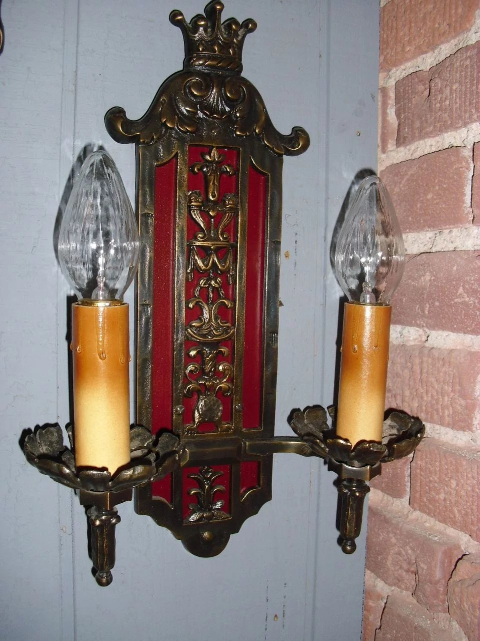 Bronze Tudor Double Candle Wall Sconces w Crown ...