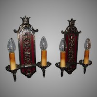 Bronze Tudor Double Candle Wall Sconces w Crown