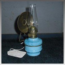 Miniature Kerosene Oil Lamp - Embossed Blue Milk Glass & Brass Hanger
